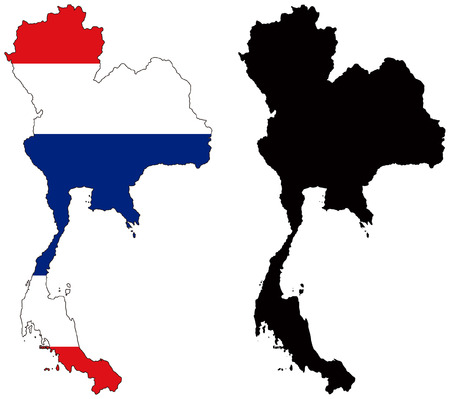 vector map and flag of thailand Illustration