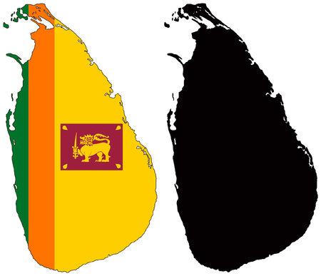 벡터지도 및 스리랑카의 국기
