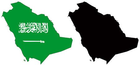 saudi arabia: vector map and flag of saudi arabia