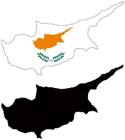 mappa vettoriale e la bandiera di Cipro