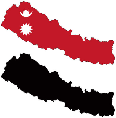 nepal: vector map and flag of nepal