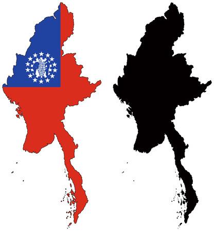 Myanmar: carte de vecteur et le drapeau du myanmar  Illustration