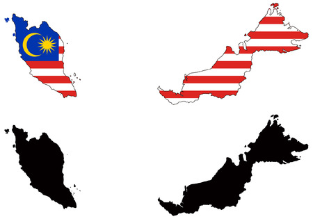 malaysia: vector map and flag of malaysia Illustration
