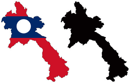 laos: vector map and flag of laos