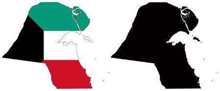 koweit: vecteur de la carte et le drapeau du Koweit