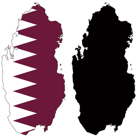 vector map and flag of qatar Illustration