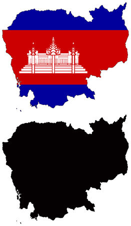 Mappa del vettore e la bandiera della Cambogia