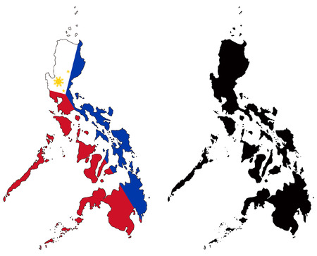 philippines  map: vector map and flag of philippines