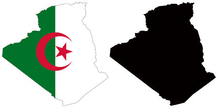 vector map and flag of algeria Vector