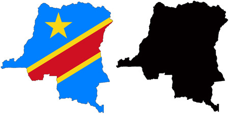 pentacle: vector map and flag of republic of congo