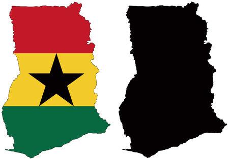 ghana: carte vectorielle et indicateur de ghana