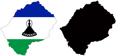 lesotho: Vector pattern map and flag of lesotho