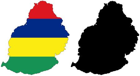 mauritius: kaart van vector patroon en de vlag van mauritius
