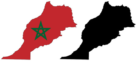 Vector pattern map and flag of morocco Vector