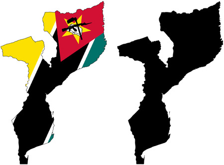mozambique: vector pattern map and flag of mozambique Illustration