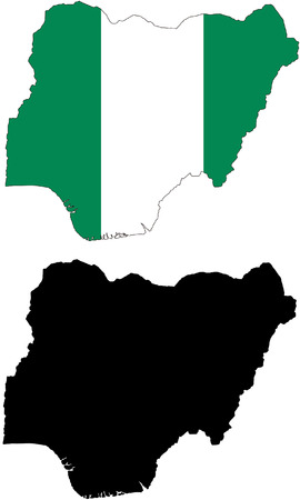 Vector pattern map and flag of nigeria Vector