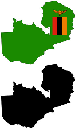 zambia: Vector pattern map and flag of zambia