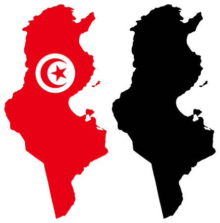 tunisia: Vector pattern map and flag of tunisia
