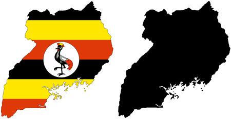 Uganda: vector pattern map and flag of uganda.