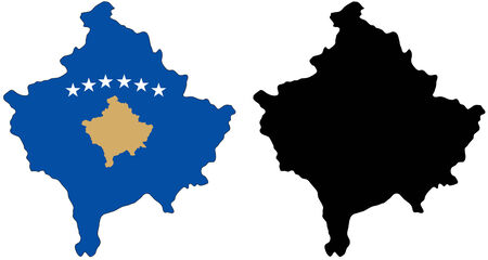 vector map and flag of Kosovo with white background. Vector
