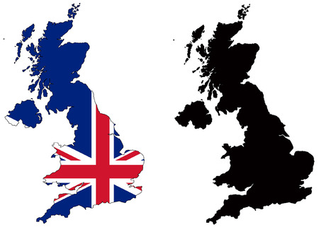 outline red: vector map and flag of united kingdom with white background.