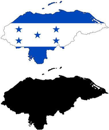 bandera de honduras: Mapa del vector y la bandera de Honduras con fondo blanco.