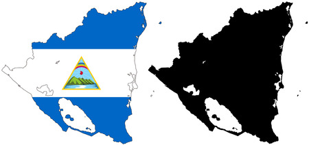 vector map and flag of Nicaragua with white background.