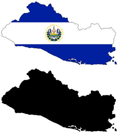mapa de el salvador: Mapa del vector y la bandera del Salvador con fondo blanco.