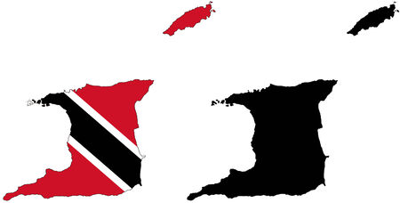 trinidad: vector map and flag of Trinidad and Tobago with white background.