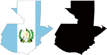 guatemala: vector map and flag of Guatemala with white background.