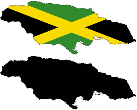 vector map and flag of Jamaica with white background. Illustration