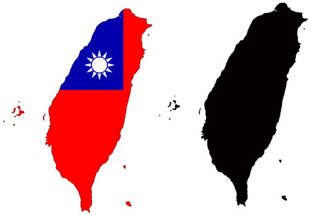 Vector pattern map and flag of Taiwan.