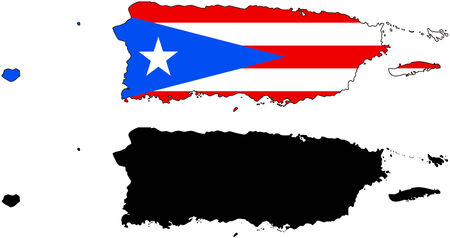 rico: Vector pattern map and flag of Puerto Rico. Illustration