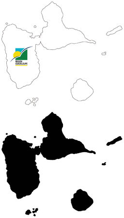 guadeloupe: vector map and flag of Guadeloupe with white background.  Illustration