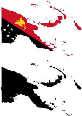 Vector pattern map and flag of Papua New Guine.