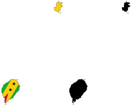 principe: Mapa del vector y la bandera de San Tom� Y Pr�ncipe.  Vectores