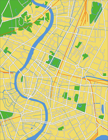 rural road: Layered vector city map of Bangkok Tailand.
