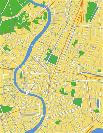 road map: Layered vector city map of Bangkok Tailand.