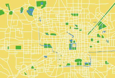 Precisely vector city map of Beijing China.