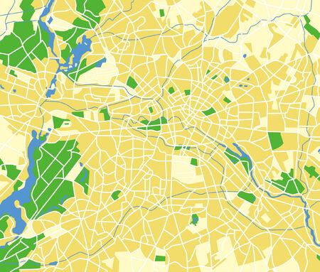 Vector pattern urban map of Berlin Germany. Vector