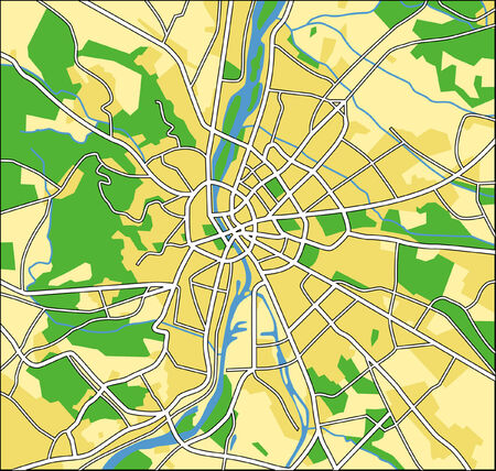 budapest: Layered vector pattern city map of Budapest Hungary. Illustration