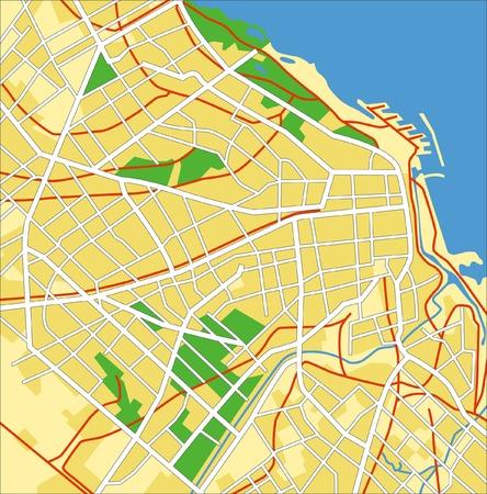 부에노스 아이레스, 아르헨티나의 계층화 된 벡터 도시지도.
