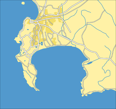 Layered vector city map of Capetown,South Africa. Vector