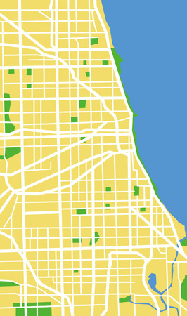 chicago skyline: Vector pattern city map of Chicago, United States. Illustration