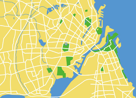 Precisely vector city map of Copenhagen Denmark. Vector