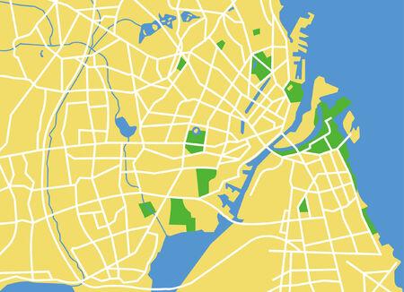 locality: Precisely vector city map of Copenhagen Denmark.