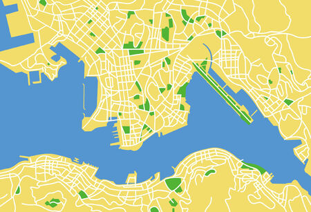 Precisely vector city map of Hongkong China. Vector