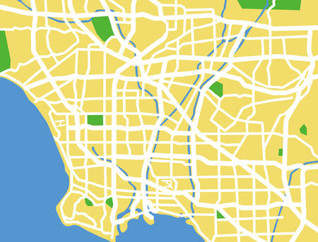 city park skyline: Vector pattern city map of Los Angeles, Untied States.