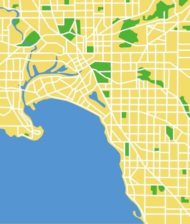 Vector pattern city map of Melbourne, Australia. Vector