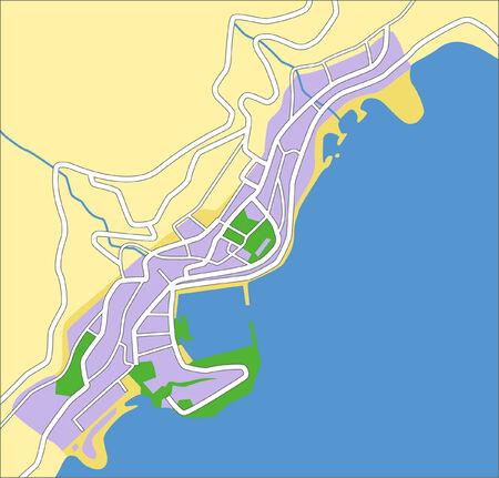 locality: Editable layered vector city map of Monaco. Illustration